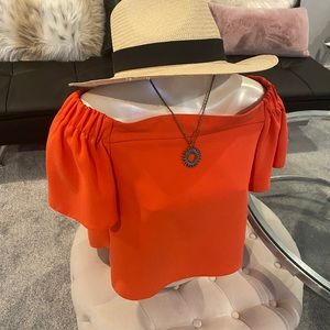 Top Shop Bright Orange Crop Top Blouse